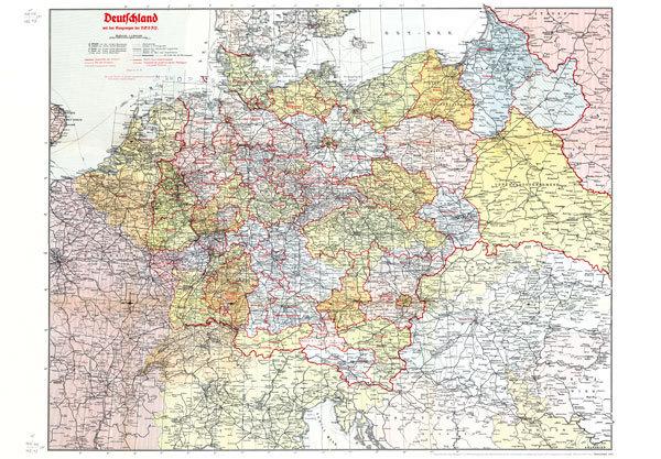 alte karte deutschland 1940 Deutschland mit Gaugrenzen 1942 [Reprint]   Historische Landkarten