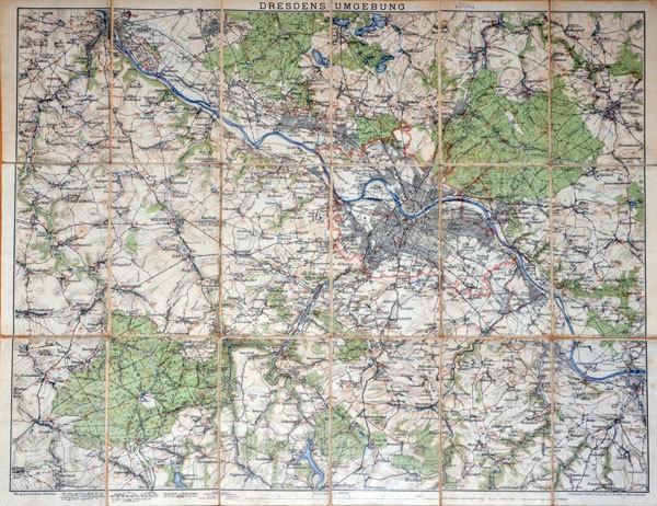 Original Karte Landkarte Fur Dresden Und Umgebung Historische