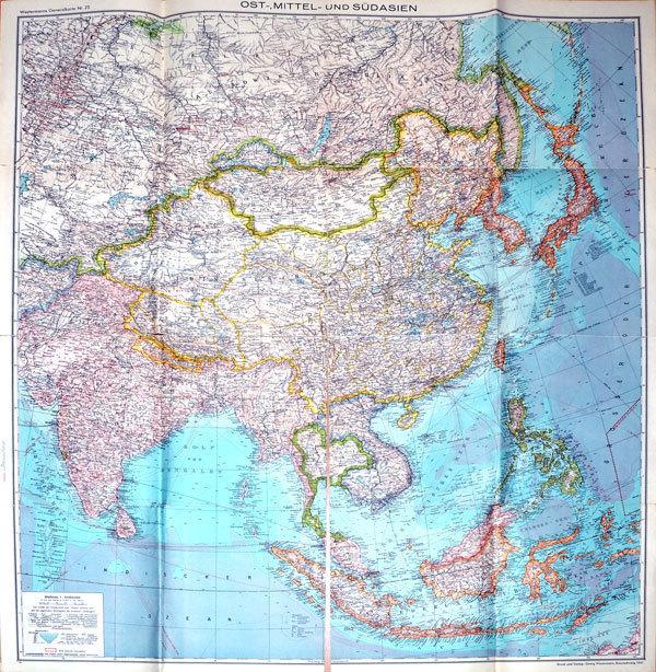Südasien Karte.Original Karte Ost Mittel Und Südasien 1941