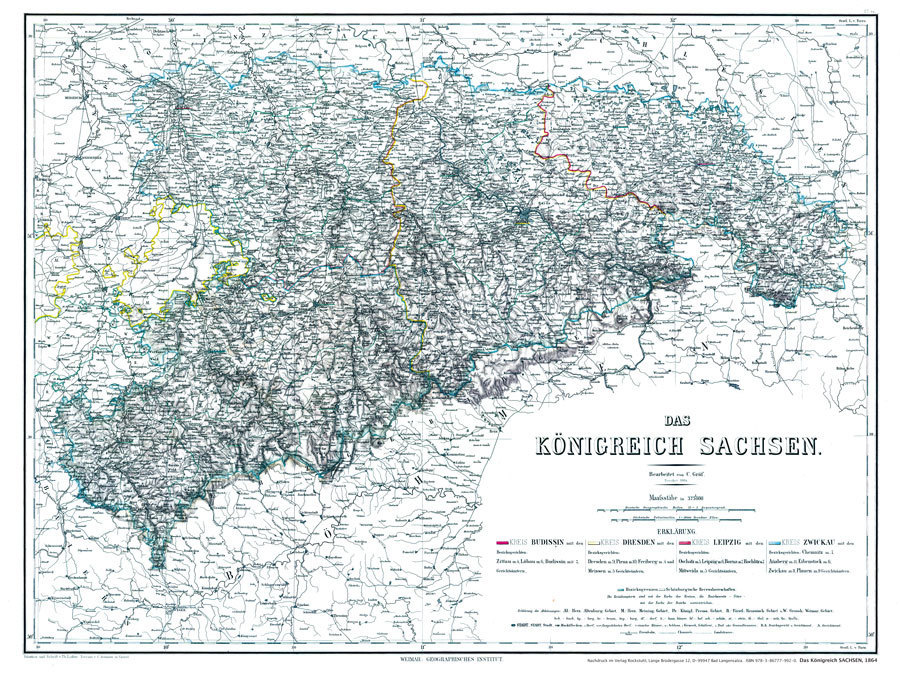 Leipzig Karte Sachsen.Historische Karte Konigreich Sachsen 1864 Plano