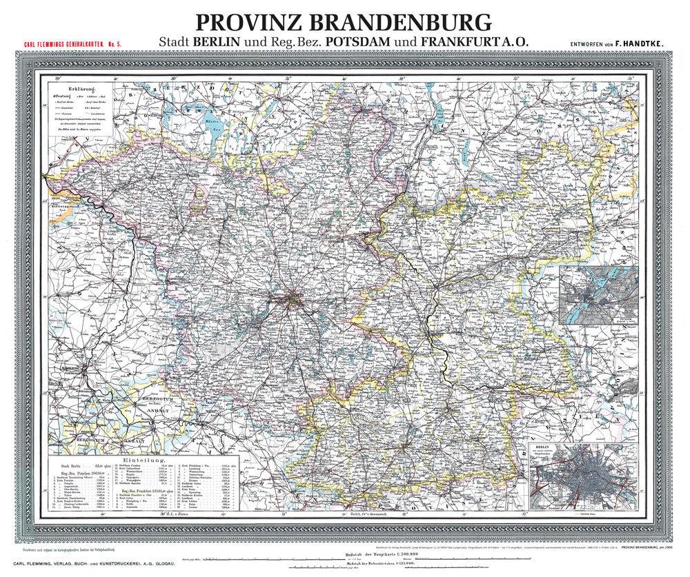 Historische Karte Potsdam.Historische Karte Provinz Brandenburg Im Deutschen Reich Um 1900 Gerollt