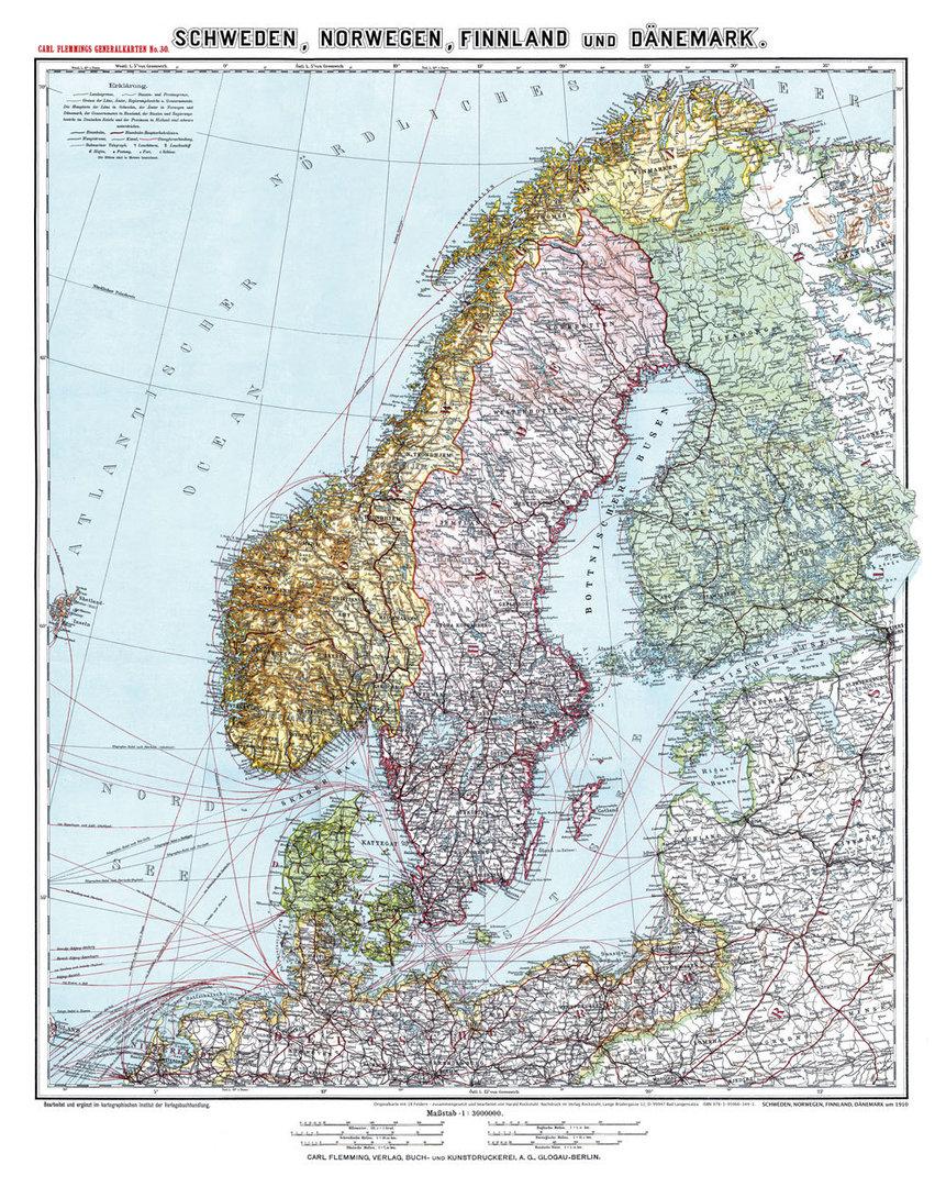 Karte Schweden Dänemark Deutschland.Historische Karte Schweden Norwegen Finnland Und Dänemark Um 1910 Gerollt