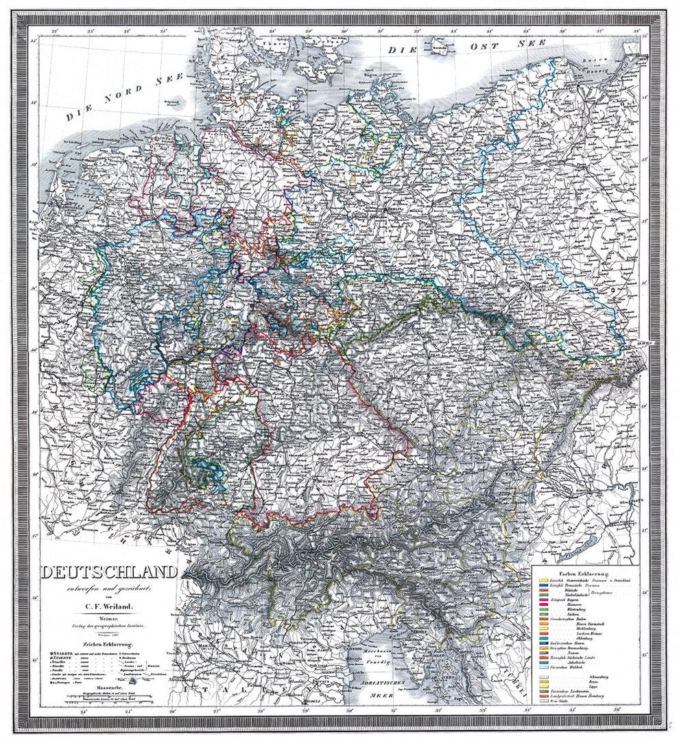 Post-Reise-Karte Deutschland 1828 Reprint Historische Karte