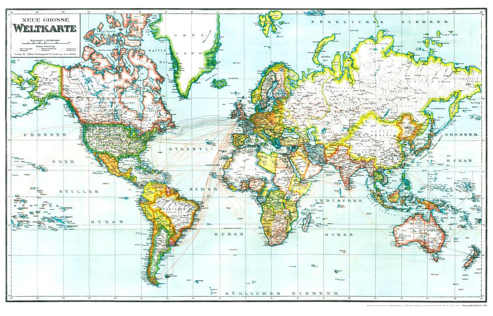 große weltkarte Hist. Karte: NEUE GROSSE WELTKARTE 1940 [gerollt]   Historische  große weltkarte