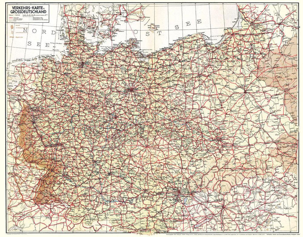 Alte Karte Deutschland 1940.Historische übersichtskarte Verkehrskarte Von Grossdeutschland 1940