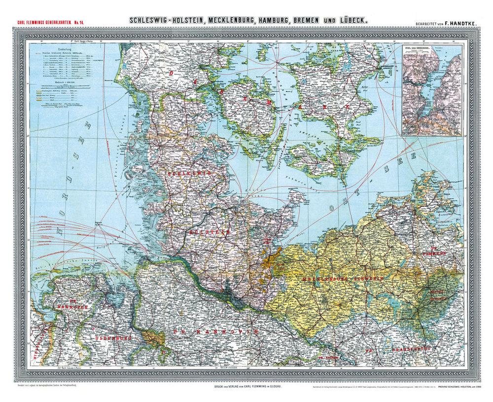 Deutsches Reich Karte.Historische Karte Provinz Schleswig Holstein Im Deutschen Reich
