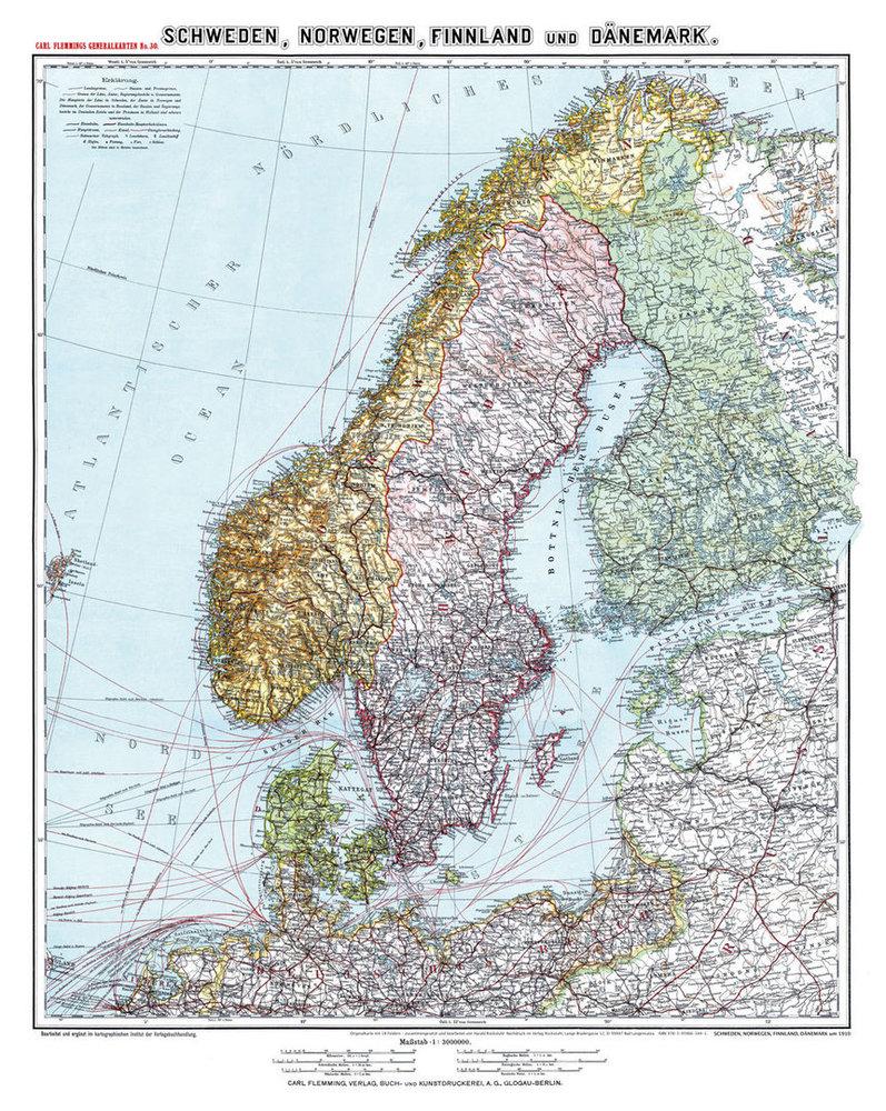 Schweden Karte Regionen.Historische Karte Schweden Norwegen Finnland Und Danemark